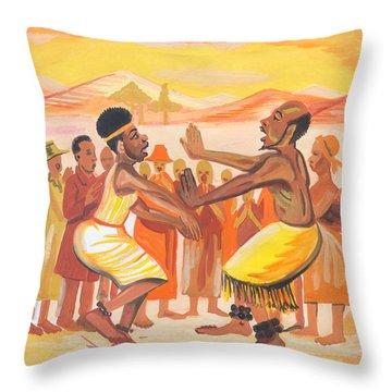 Throw Pillow featuring the painting Imbiyino Dance From Rwanda by Emmanuel Baliyanga