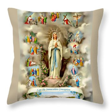 Immaculate Conception Throw Pillow by Munir Alawi