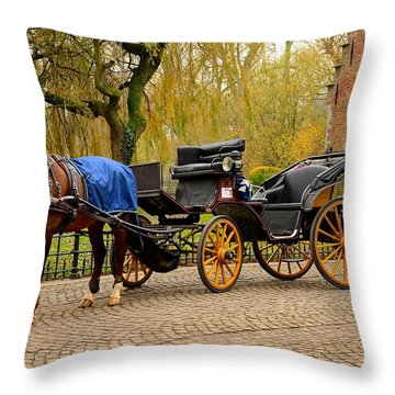Immaculate Horse And Carriage Bruges Belgium Throw Pillow