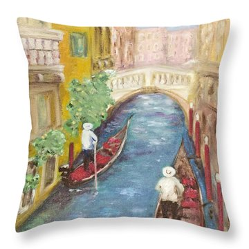 Throw Pillow featuring the painting Immortal Venice by Barbara Anna Knauf