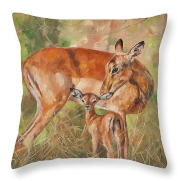 Impala Antelop Throw Pillow by David Stribbling