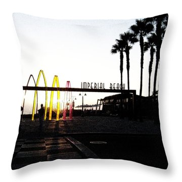 Imperial Beach At Dusk Throw Pillow