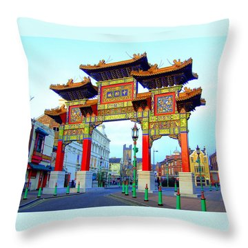 Imperial Chinese Arch Liverpool Uk Throw Pillow