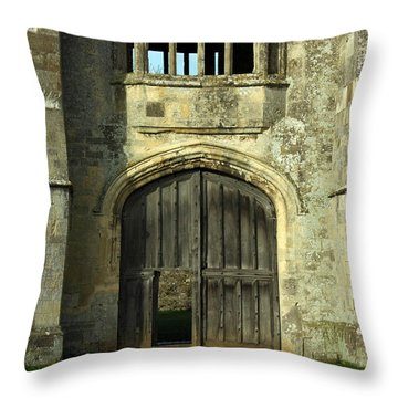 Imposing Front Door Of Titchfield Abbey Throw Pillow by Terri Waters