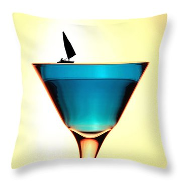 Impression Sunrise Sailing On The Cups Little People On Food Throw Pillow by Paul Ge
