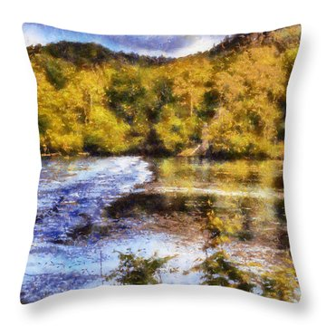 Impressionist Etowah River Throw Pillow
