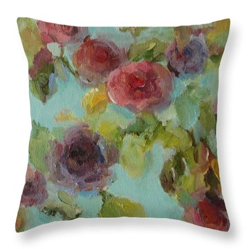 Impressionist Floral  Throw Pillow