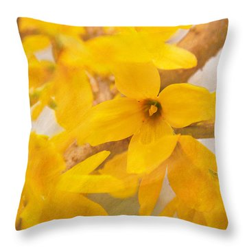Impressionist Forsythia Throw Pillow