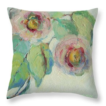 Impressionist Roses  Throw Pillow by Mary Wolf