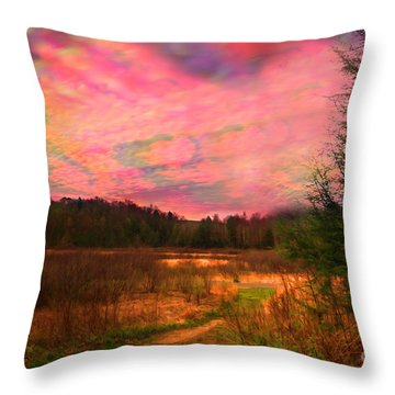 Impressionistic Morning View Of West Virginia Botanic Garden Throw Pillow by Dan Friend