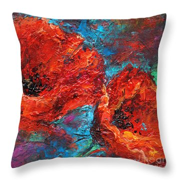 Impressionistic Red Poppies Throw Pillow by Svetlana Novikova