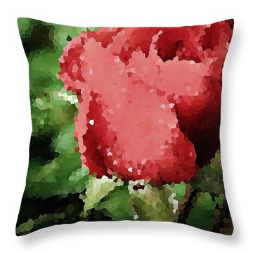 Impressionistic Rose Throw Pillow by Chris Berry