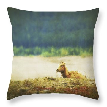 Impressionistic Style Of A Bighorn Throw Pillow by Roberta Murray