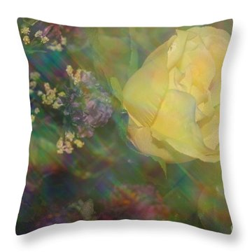 Throw Pillow featuring the photograph Impressionistic Yellow Rose by Dora Sofia Caputo Photographic Art and Design