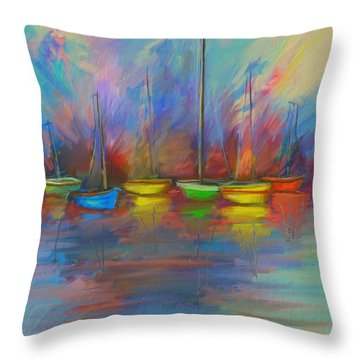 Impressions Of A Newport Beach Sunset Throw Pillow by Angela A Stanton