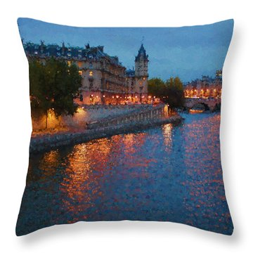 Impressions Of Paris - Shimmering Seine River At Night Throw Pillow