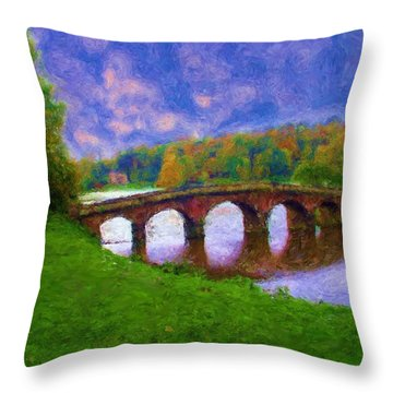 Impressions Of Stourhead Throw Pillow by Ron Harpham
