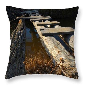 Improvised Wooden Bridge Throw Pillow
