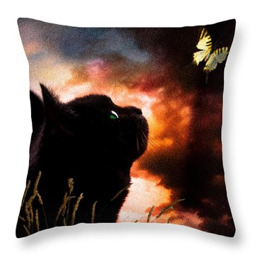 In A Cats Eye All Things Belong To Cats.  Throw Pillow by Bob Orsillo