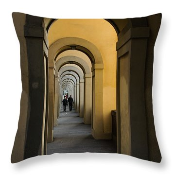 In A Distance - Vasari Corridor In Florence Italy  Throw Pillow