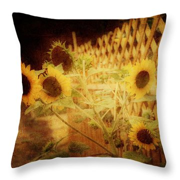 Sunflowers And Lattice Throw Pillow by Toni Hopper