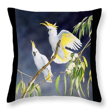 In A Shaft Of Sunlight - Sulphur-crested Cockatoos Throw Pillow by Frances McMahon