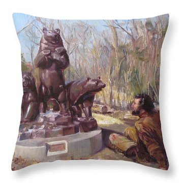 In A Tight Fix With A Group Of Bears Throw Pillow