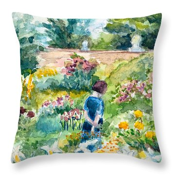 In An English Cottage Garden Throw Pillow
