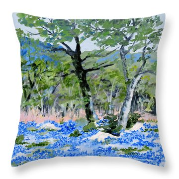 In April-texas Bluebonnets Throw Pillow