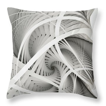 In Betweens-white Fractal Spiral Throw Pillow