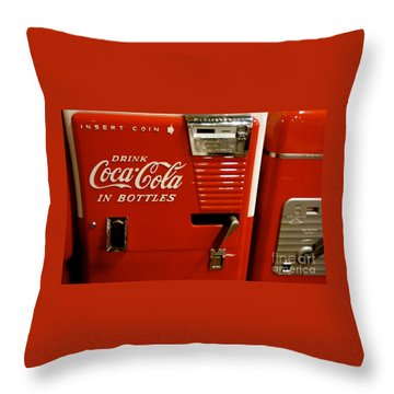 In Bottles Red Throw Pillow by Cathy Dee Janes