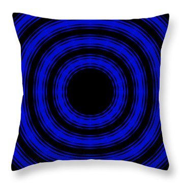 Throw Pillow featuring the painting In Circles- Blue Version by Roz Abellera Art