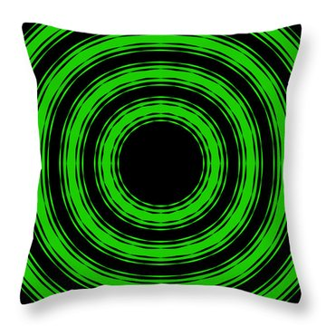 Throw Pillow featuring the painting In Circles-green Version by Roz Abellera Art