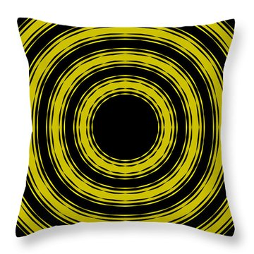 Throw Pillow featuring the painting In Circles- Yellow Version by Roz Abellera Art