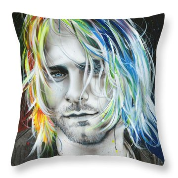 Kurt Cobain - ' In Debt For My Thirst ' Throw Pillow by Christian Chapman Art