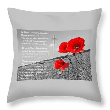 In Flanders Fields Throw Pillow by Gill Billington