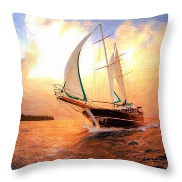 In Full Sail - Oil Painting Edition Throw Pillow by Lilia D