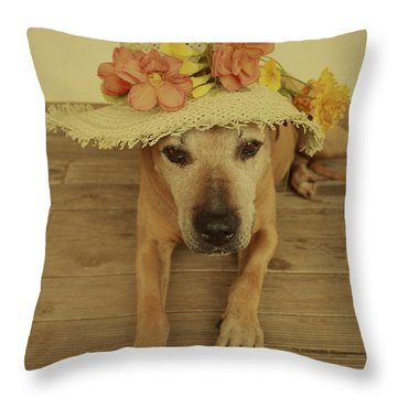In Her Easter Bonnet Throw Pillow