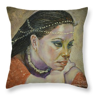 In Her Thoughts Throw Pillow