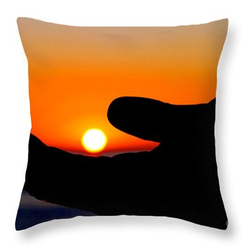 In His Hands By Diana Sainz Throw Pillow
