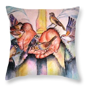 In His Hands Throw Pillow