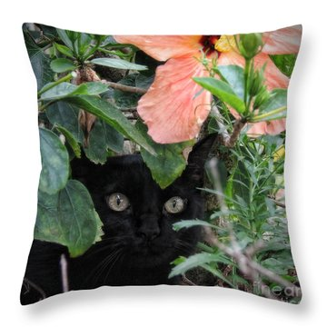 Throw Pillow featuring the photograph In His Jungle by Peggy Hughes