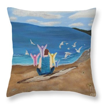 Throw Pillow featuring the painting In Meditation by Cheryl Bailey