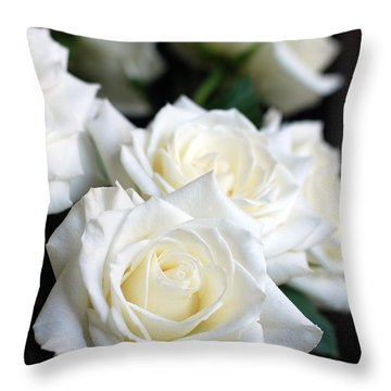In My Dreams - White Roses Throw Pillow by Connie Fox