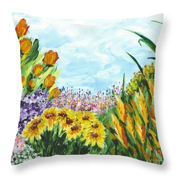 In My Garden Throw Pillow by Holly Carmichael