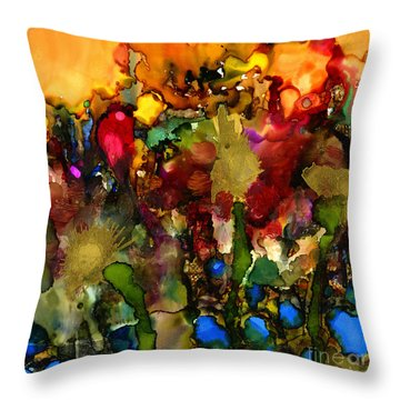 In My Sister's Garden Throw Pillow by Angela L Walker