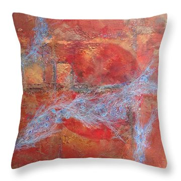 Throw Pillow featuring the mixed media In Need For Red by Delona Seserman