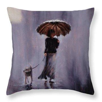 In Rain Or Shine Throw Pillow by Laura Lee Zanghetti