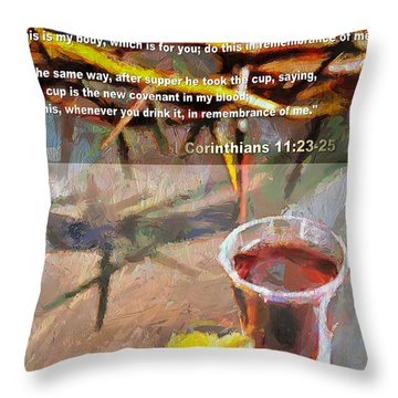Throw Pillow featuring the painting In Remembrance Of Me - Scripture Version by Wayne Pascall