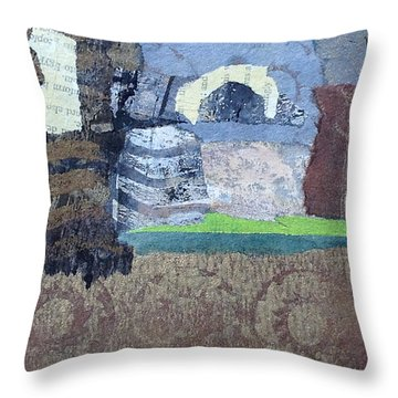 Throw Pillow featuring the mixed media In Ruins by Catherine Redmayne